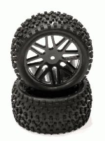 Pre-Mounted 1/10 Buggy 16 Spoke Rear 40mm All Terrain Q4027 12mm Hex (O.D. 87mm)