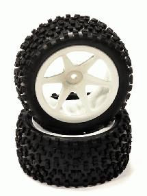 Pre-Mounted 1/10 Buggy 6 Spoke Rear 40mm All Terrain Q4019 12mm Hex (O.D. 87mm)