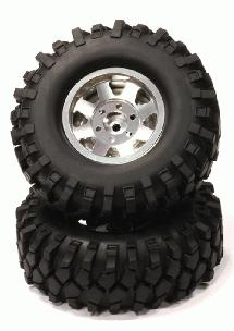 Billet Machined 8 Spoke 1.9 Wheel w/ AT T2 Tires for Scale Crawler (O.D.=105mm)