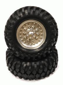 Billet Machined HD Spoke 1.9 Size Wheel w/All Terrain T2 Tires for Scale Crawler