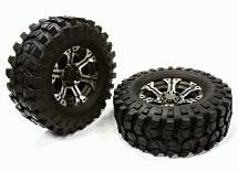 Billet Machined 6 Spoke XH 1.9 Wheel & Tire (2) for Scale Crawler (O.D.=106mm)