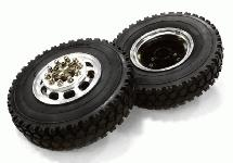 Machined Alloy T5 Front Wheel & XD Tire Set for Tamiya 1/14 Scale Tractor Trucks