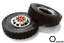 Machined Alloy T5 Front Wheel & XC Tire Set for Hex Type 1/14 Scale Trucks