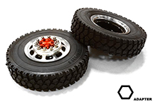 Machined Alloy T5 Front Wheel & XD Tire Set for Hex Type 1/14 Scale Trucks