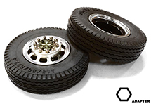 Machined Alloy T5 Front Wheel & XE Tire Set for Hex Type 1/14 Scale Trucks