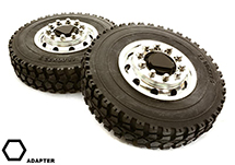 Machined Alloy T6 Front Wheel & XD Tire Set for Hex Type 1/14 Scale Trucks