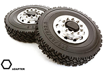 Machined Alloy T6 Front Wheel & XC Tire Set for Hex Type 1/14 Scale Trucks