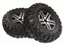 2.2x1.75-in. Alloy Wheels & Tires(2) for TRX-4, SCX10 II & III Crawlers OD=122mm