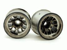 RIDE Black-Luster Rear Wheels for Tamiya F104 w/ 63mm Rubber Tires
