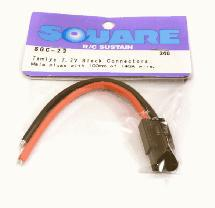 Square R/C Tamiya 7.2V Black Connectors (Male plugs with 100mm of 14GA wire.)