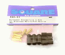 Square R/C European Connectors - 3.5mm for Brushless Motors, with Housing 1 Pair