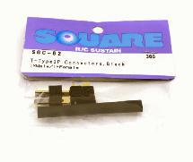 Square R/C T-Type 2P Connectors, Black (1x Male/1x Female)