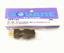 Square R/C XT-60 Female and 2P Male Conversion Connector (Compact)