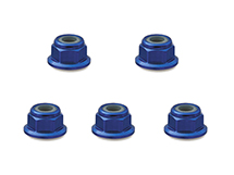 Square R/C 3mm Aluminum Lock Nuts, Flanged (Blue) 5 pcs.