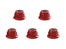 Square R/C 3mm Aluminum Lock Nuts, Flanged (Red) 5 pcs.