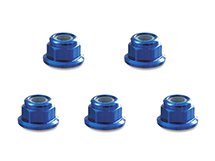 Square R/C 4mm Aluminum Lock Nuts, Flanged (Blue) 5 pcs.