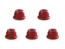 Square R/C 4mm Aluminum Lock Nuts, Flanged (Red) 5 pcs.