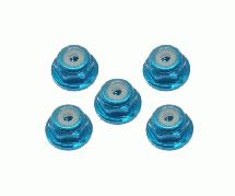 Square R/C 2mm Aluminum Lock Nuts, Flanged (Light Blue) 5 pcs.