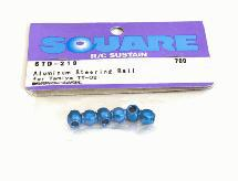 Square R/C Aluminum Steering Wheel Ball - Blue (for Tamiya TT-02) 6 pcs.