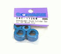 Square R/C Aluminum Upper and Lower Damper Cylinder Cap for Tamiya, Blue 2 pcs.