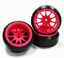Street Jam Pink 10 Spoke +10 Offset Wheel (4) Hard 45 Degree Drift Tire Set