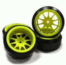 Street Jam Yellow 10 Spoke +10Offset Wheel(4)Ultra Hard 45 Degree Drift Tire Set