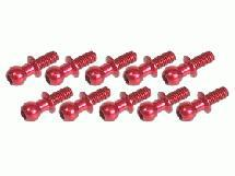 3Racing Aluminum 4.8MM Ball Stud L=6 (10 pcs) - Red