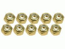 3Racing 4mm Aluminum Lock Nuts (10 Pcs) - Gold