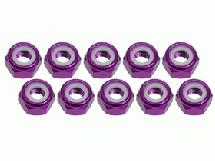 3Racing 4mm Aluminum Lock Nuts (10 Pcs) - Purple