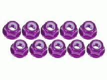 3Racing 3mm Aluminum Flanged Lock Nuts (10 Pcs) - Purple
