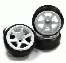 Street Jam White 6 Spoke +6 Offset Wheel (4) Hard 60 Degree Drift Tire Set