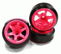 Street Jam Pink 6 Spoke +10 Offset Wheel (4) Ultra Hard 45 Degree Drift Tire Set