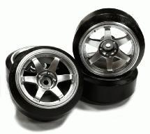 Street Jam Silver 6 Spoke +10 Offset Wheel (4) Hard 60 Degree Drift Tire Set