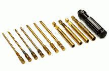 Ti-Nitride QuickPit 11pcs Set, Metric Allen Hex + Socket + Screw Driver Tips