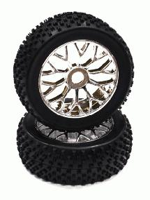Mounted 1/8 Buggy 20 Spoke-Y 17mm Wheel+Pattern X Tire Set (2) (O.D.=110mm)