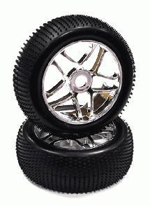 Mounted 1/8 Buggy 10 Spoke 17mm Wheel+Pattern Micro-Spike Tire Set (2)(O.D.=110)
