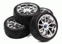 10 Spoke Complete Wheel & Tire Set (4) for 1/10 Touring Car