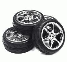 6 Spoke Complete Wheel & Tire Set (4) for 1/10 Touring Car