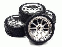 10 Spoke Complete Wheel & Tire Set (4) Wide Offset for 1/10 Touring Car