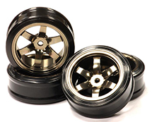 Billet Machined Alloy 6 Spoke Wheel +6 Offset + Drift Tire (4) Set (O.D.=62mm)