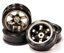 Billet Machined Alloy 6 Spoke Wheel +8 Offset + Drift Tire (4) Set (O.D.=62mm)