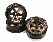 Billet Machined Alloy 6 Spoke Wheel +10 Offset + Drift Tire (4) Set (O.D.=62mm)