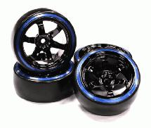 Black Color 6 Spoke Wheel w/ Outer Ring + Drift Tire (4) Set (O.D.=62mm)