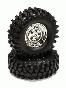 Rover Style 1.9 Wheels (2) w/All Terrain T2 Tires for Scale Crawler (O.D.=105mm)