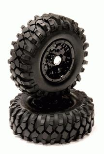 Machined Alloy Beadlock Wheel + All Terrain Tire 1.9 Size (2) for Scale Crawler