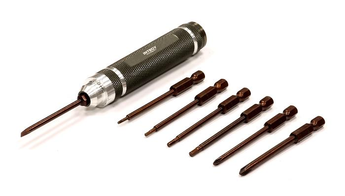 QuickPit 7pcs Set, Metric Hex Wrench + Screw Driver Tips