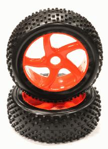 Mounted 1/8 Buggy 5 Spoke-S 17mm Wheel+Pattern RT Tire Set (2) (O.D.=110mm)