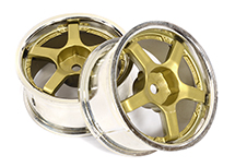 5 Spoke Bronze Tone Wheel Set (2) for 1/10 Drift and Touring Car