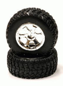 All Terrain BX Tires+6 Spoke Wheels(2)12mm Hex for 1/10 Short Course(O.D.=108mm)