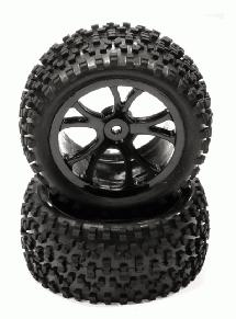 Pre-Mounted 1/10 Buggy 10 Spoke Rear 40mm All Terrain Q4032 12mm Hex (O.D. 87mm)